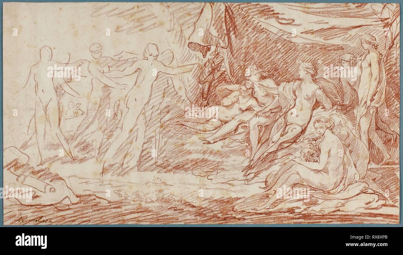 El baño de Diana. Pierre Charles Trémolières; francés, 1703-1739. Fecha: 1728-1739. Dimensiones: 230 x 411 mm. Tiza roja de marfil sentó el papel, establecidas sobre crema de papel establecido. Origen: Francia. Museo: El Instituto de Arte de Chicago. Foto de stock