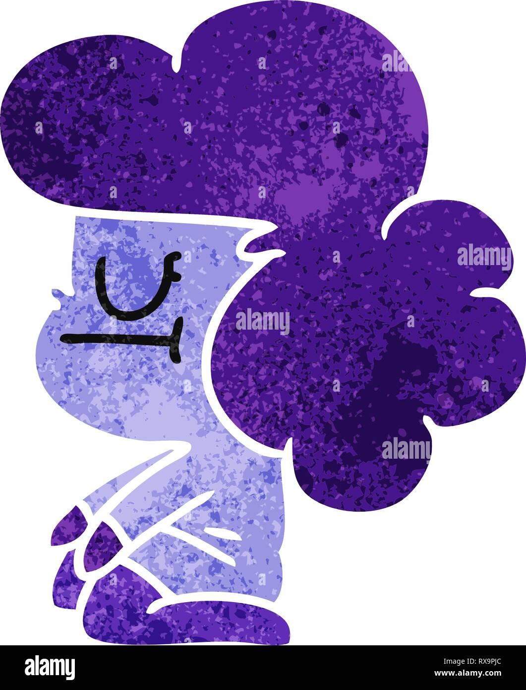 Dibujado a mano alzada retro cartoon de kawaii chica extranjera Ilustración del Vector