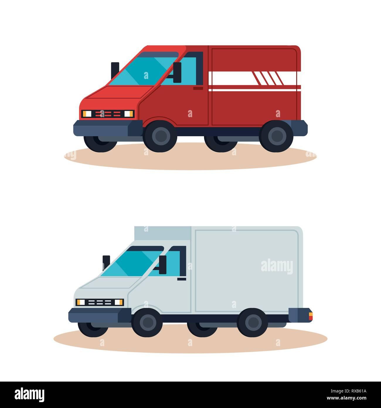 Servicio de entrega de vehículos furgones Ilustración del Vector