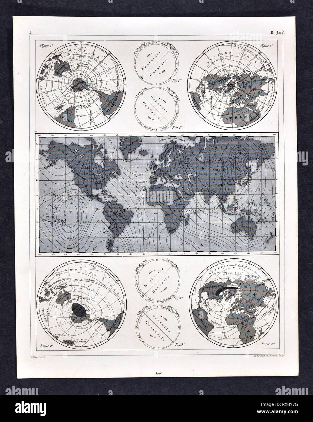1849 Bilder Atlas Mapa del mundo mostrando los campos magnéticos Imagen De Stock