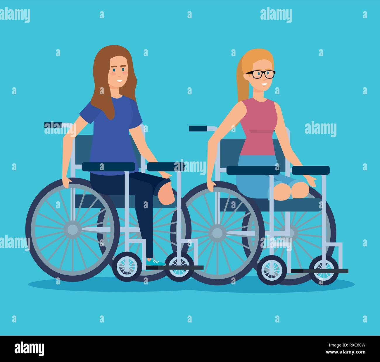 Las mujeres discapacitadas sentado en la silla de ruedas sin piernas Ilustración del Vector