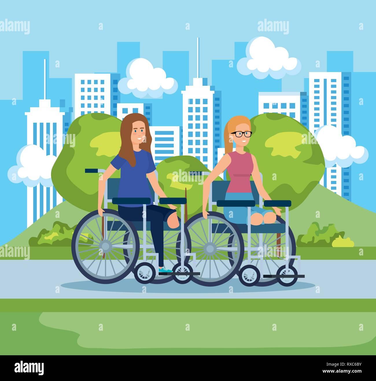 Mujer sentada en la silla de ruedas sin piernas y paisaje Ilustración del Vector