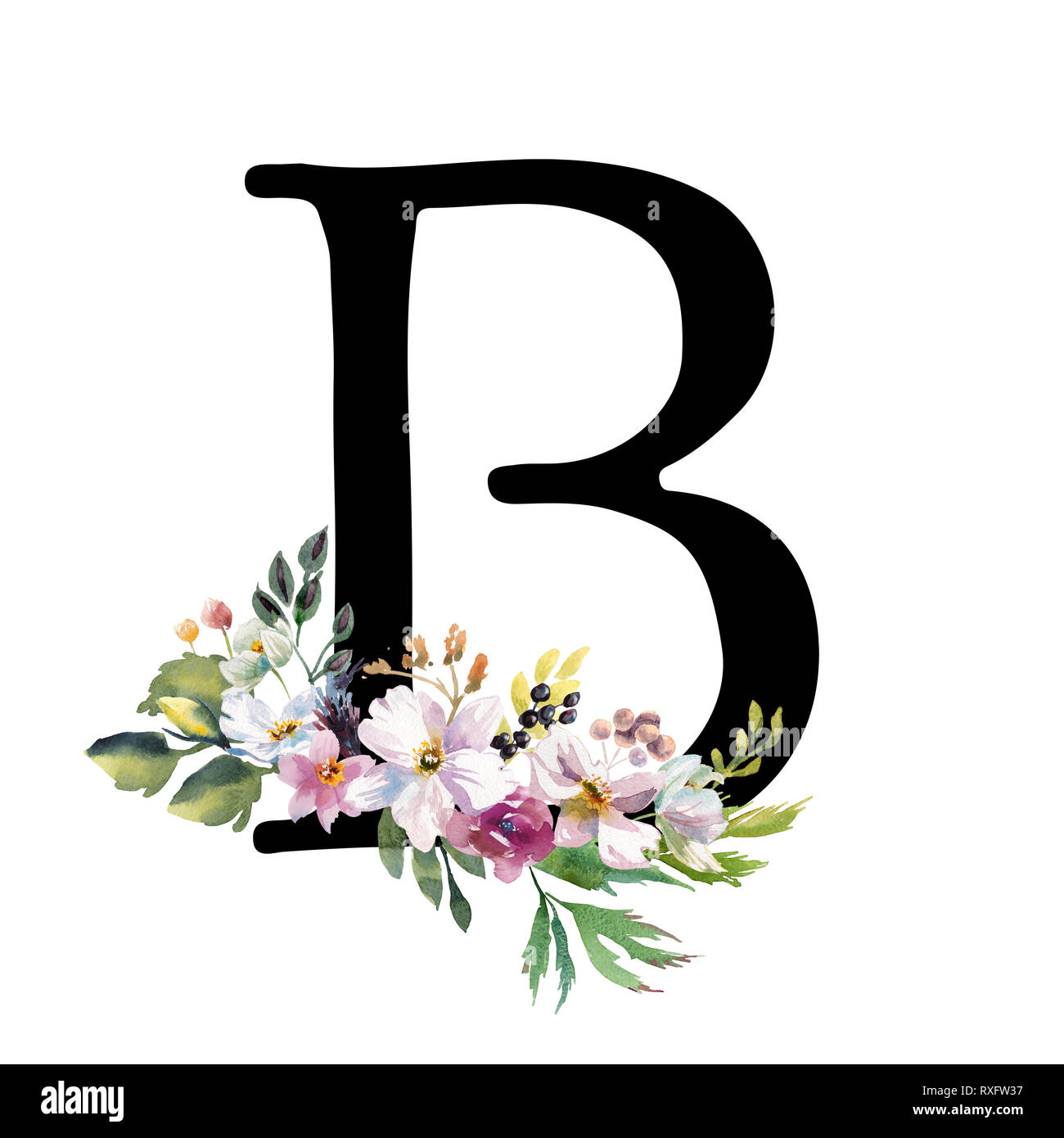 Romántica Letra B Oro Acuarela Dibujada Con Flores Elegante