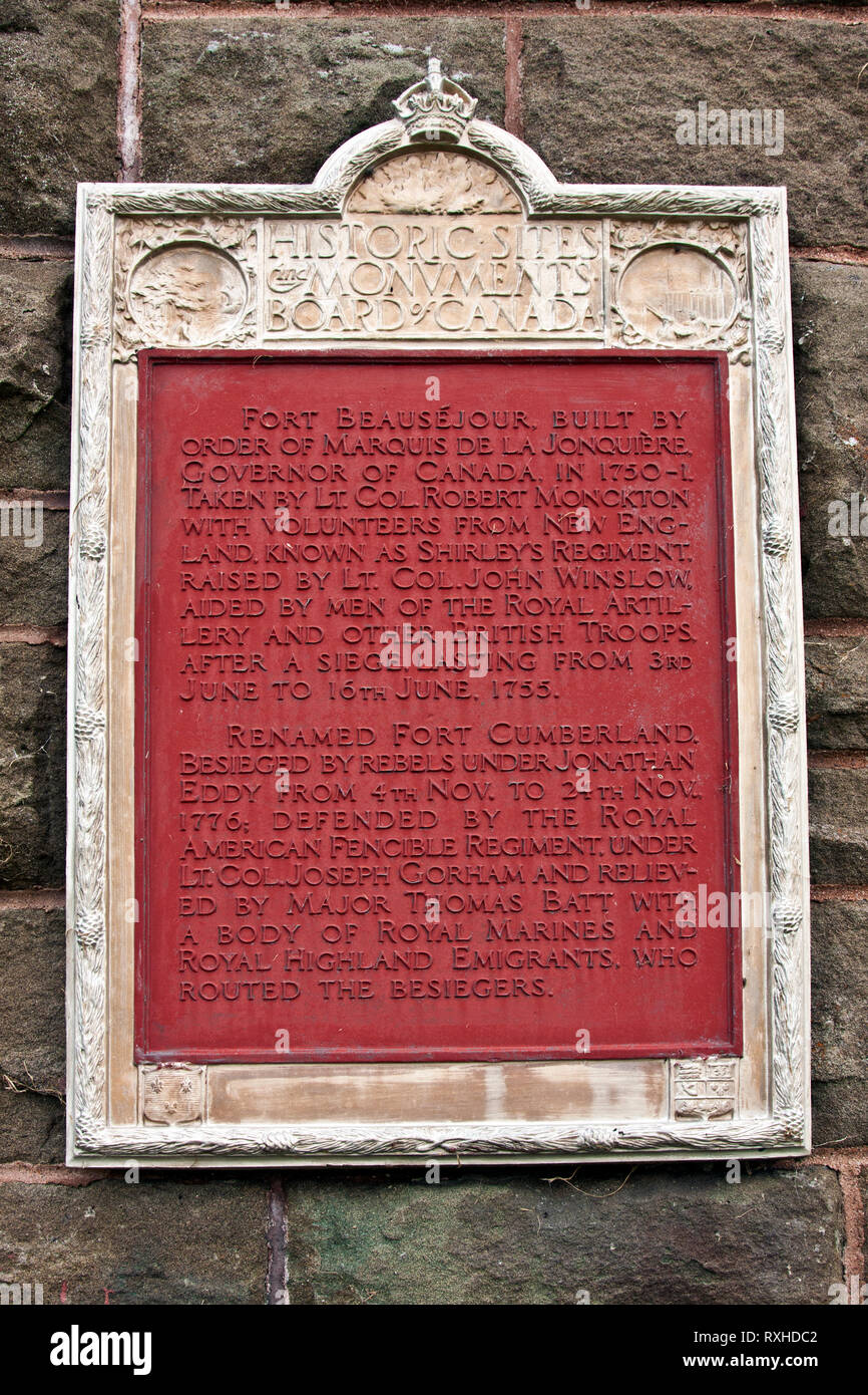 Canadá, Nueva Brunswick, Fort Beausejour, Fort Cumberland, Franceses, británicos, 1755, Guerra Francesa y de indio, siete años de guerra, Imagen De Stock