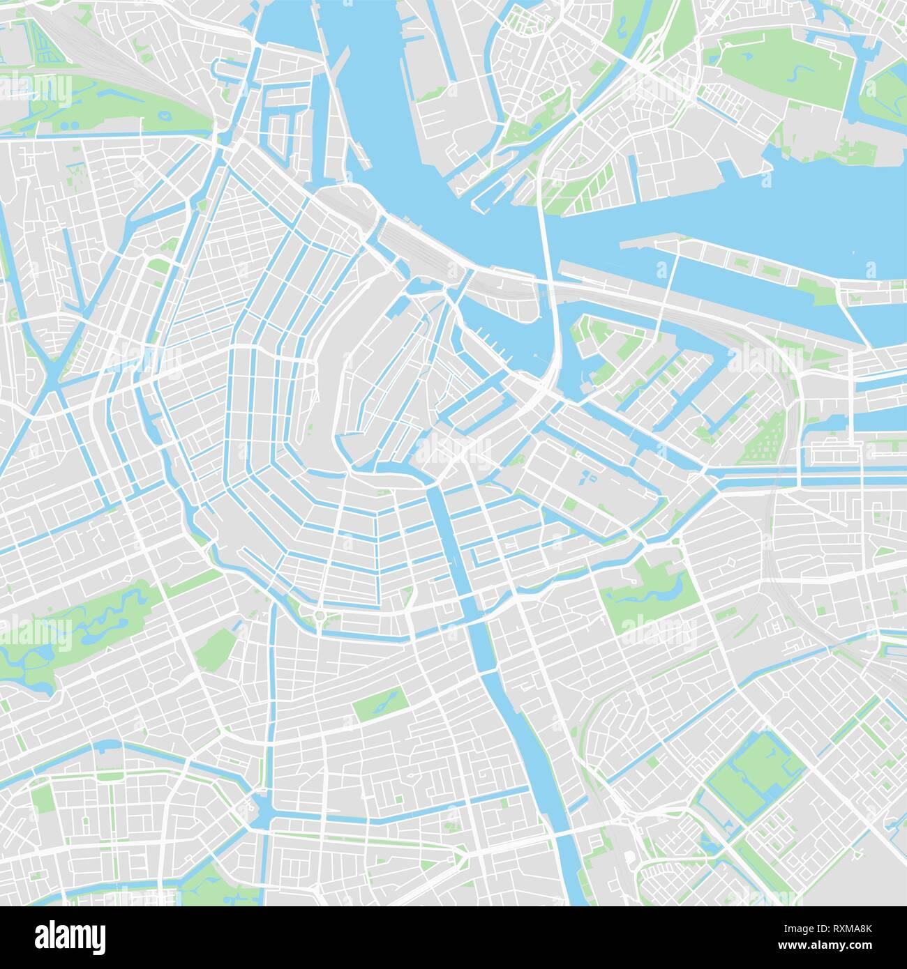 Mapa De Amsterdam Centro.Mapa De Vectores En El Centro De Amsterdam Paises Bajos Este Mapa De Amsterdam Contiene Lineas Y Formas De Colores Clasicos Para La Masa De Tierra Parques De Agua Imagen Vector De