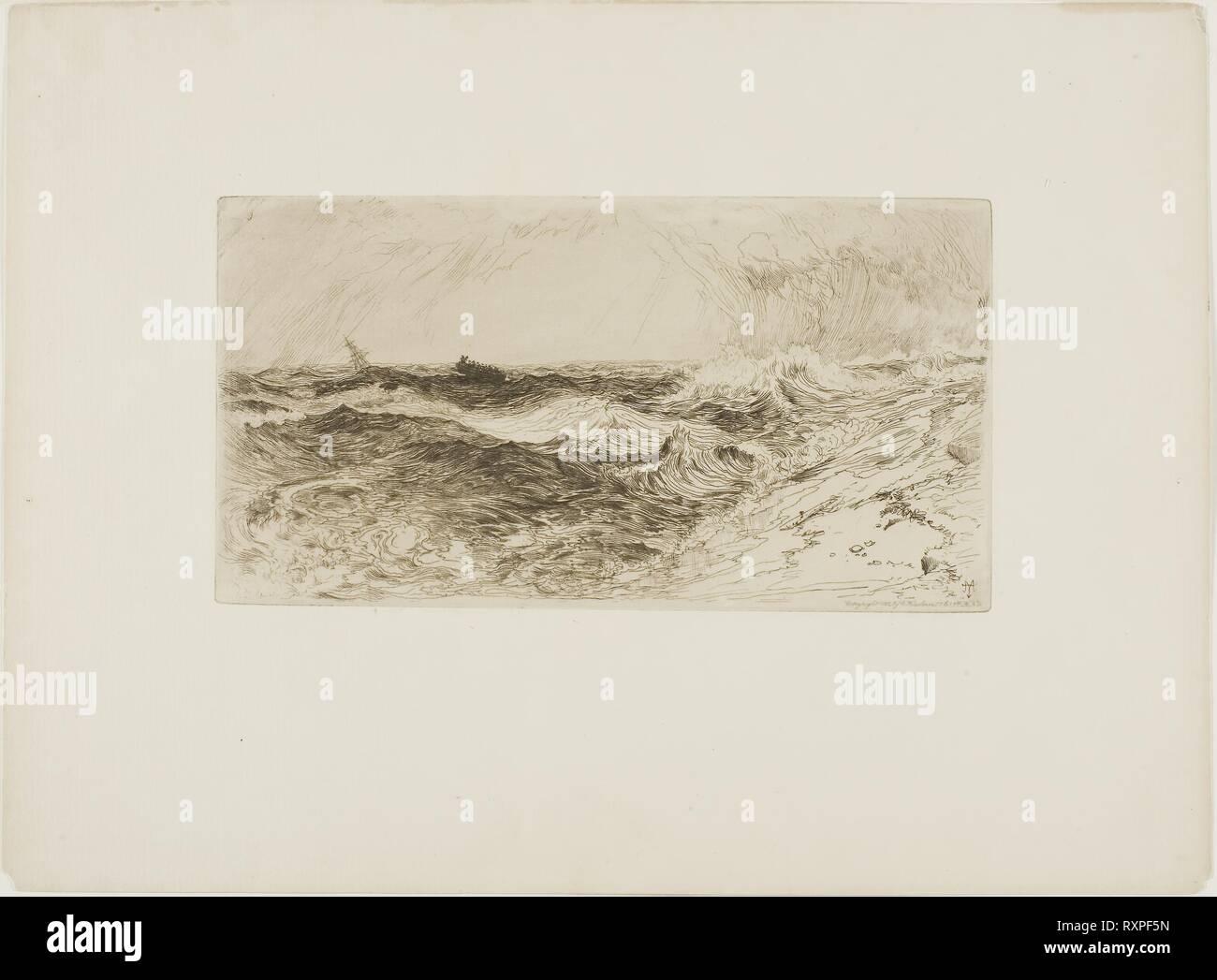 El resonante mar. Thomas Moran; Americano, nacido en Inglaterra, 1837-1926. Fecha: 1885-1886. Dimensiones: 105 x 203 mm (imagen/placa); 233 x 316 mm (hoja). Crema Aguafuerte sobre papel establecido. Origen: Estados Unidos. Museo: El Instituto de Arte de Chicago. Imagen De Stock