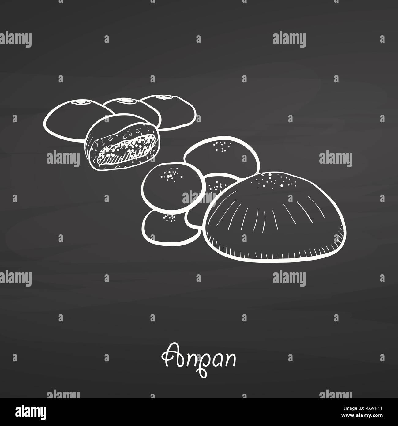 Alimentos Anpan bosquejo en el pizarrón. Dibujo Vectorial de bollo dulce, generalmente conocido en Japón. Ilustración de la serie de alimentos. Ilustración del Vector
