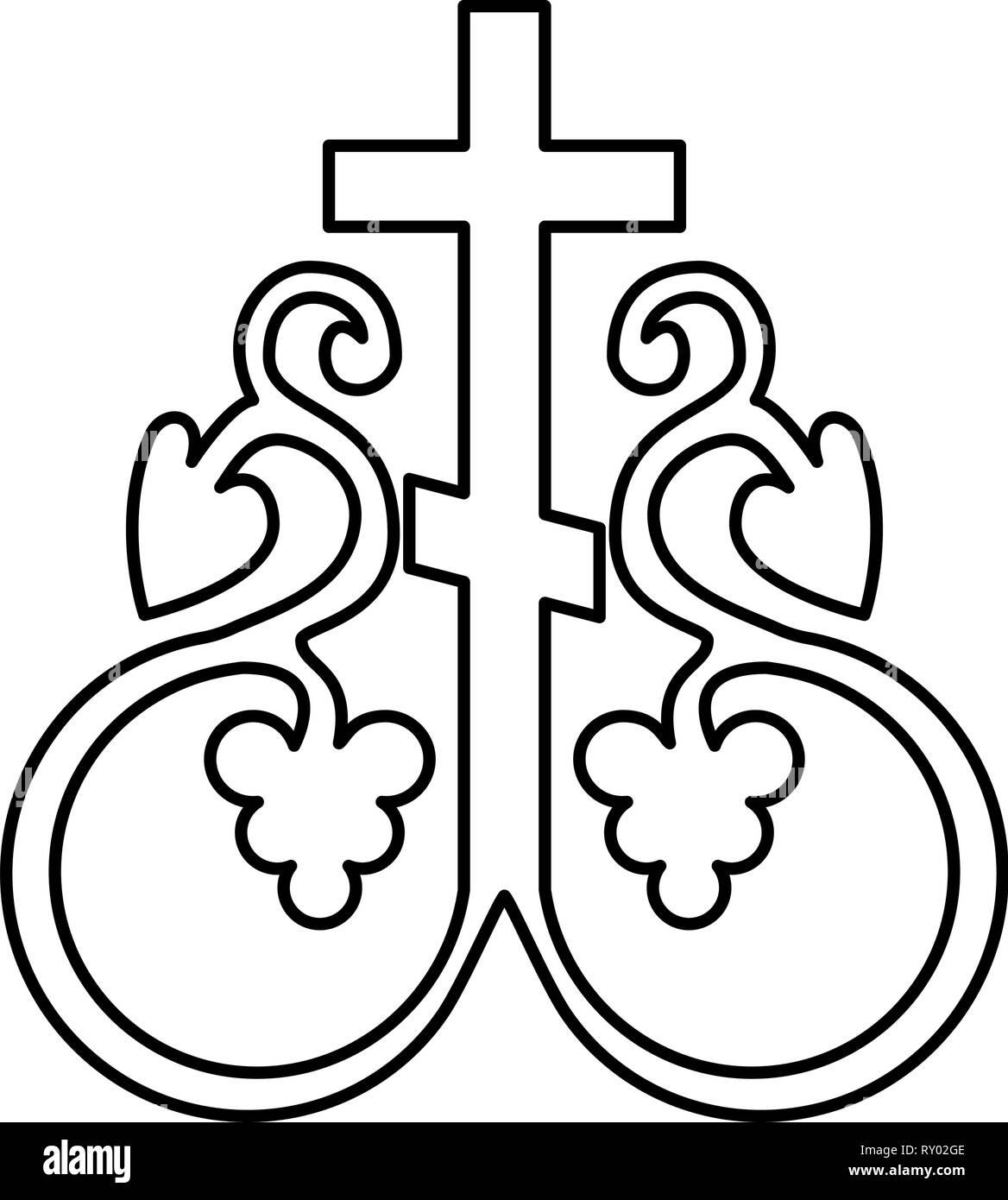 Cruz Cruz vid monograma símbolo secreto signo de comunión religiosa  anclajes cruz icono ilustración vectorial de esquema de color negro estilo  plano imagen Imagen Vector de stock - Alamy