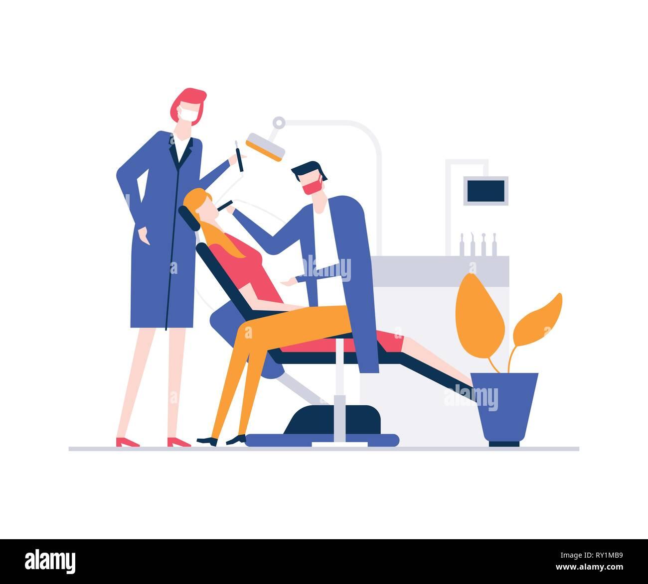 En el dentista - Ilustración estilo colorido diseño plano Ilustración del Vector