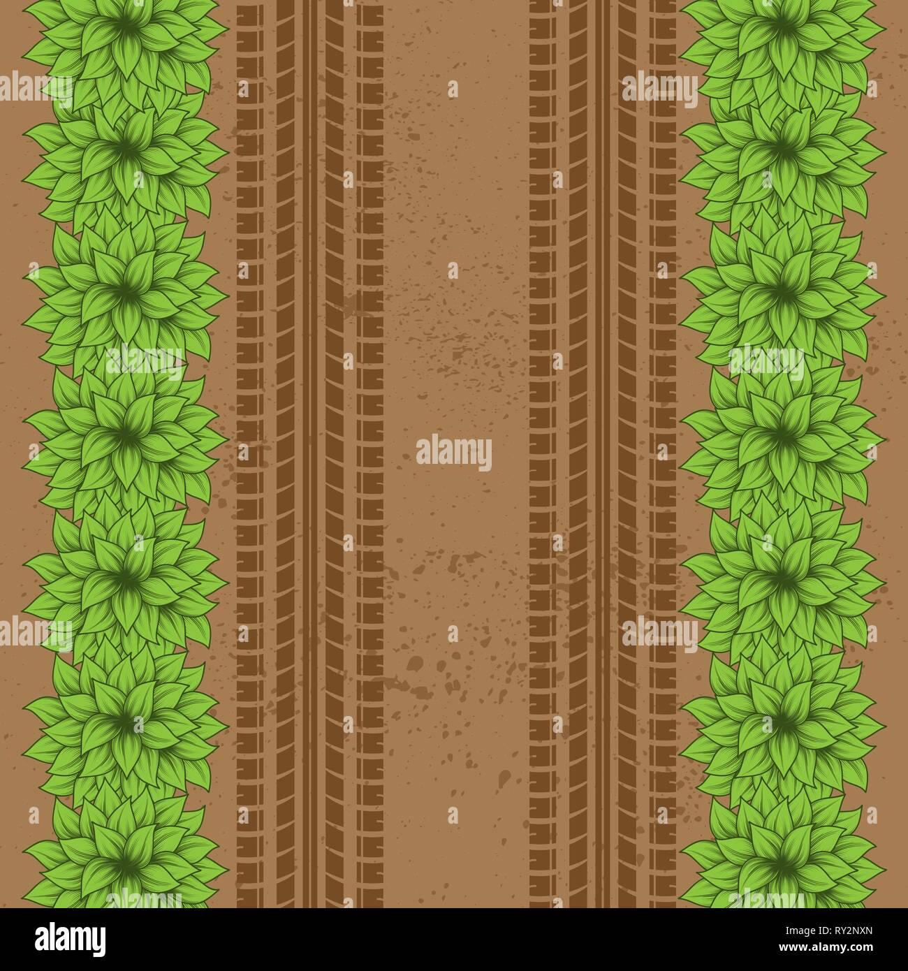Tierra marrón Grunge antecedentes con las huellas de los neumáticos y arbustos verdes Ilustración del Vector