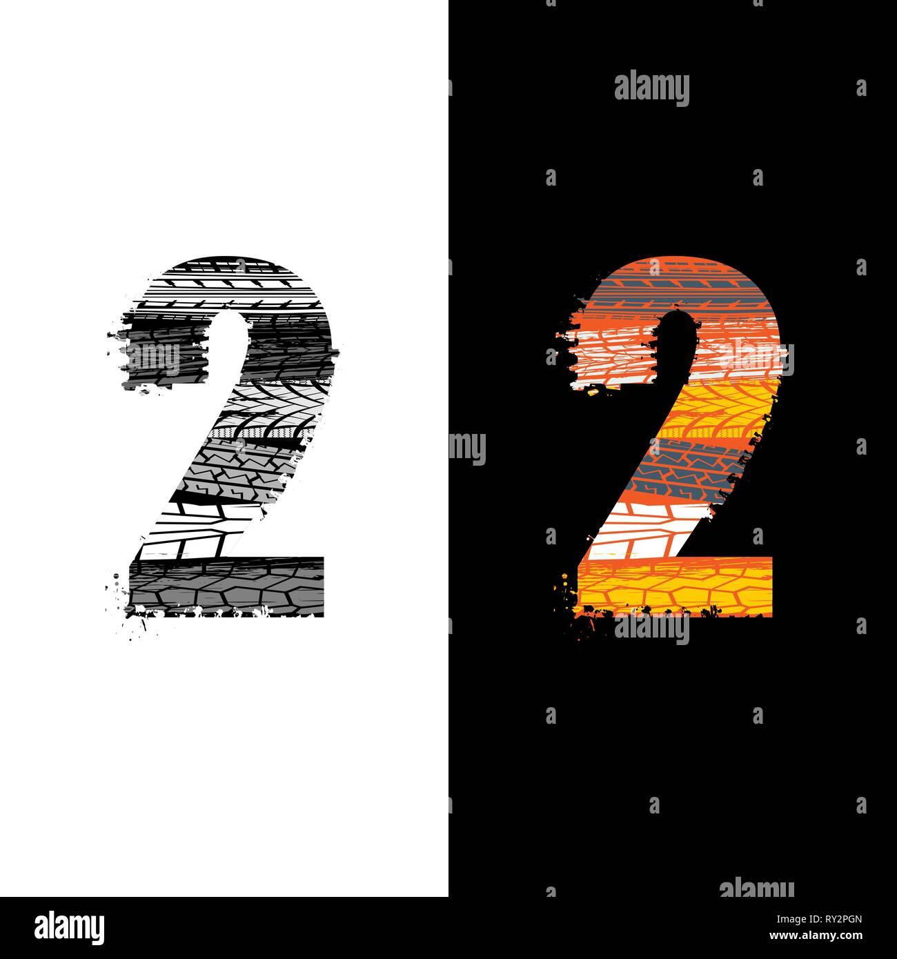Dos grunge número 2 con las huellas de los neumáticos aislado sobre antecedentes differennt Imagen De Stock