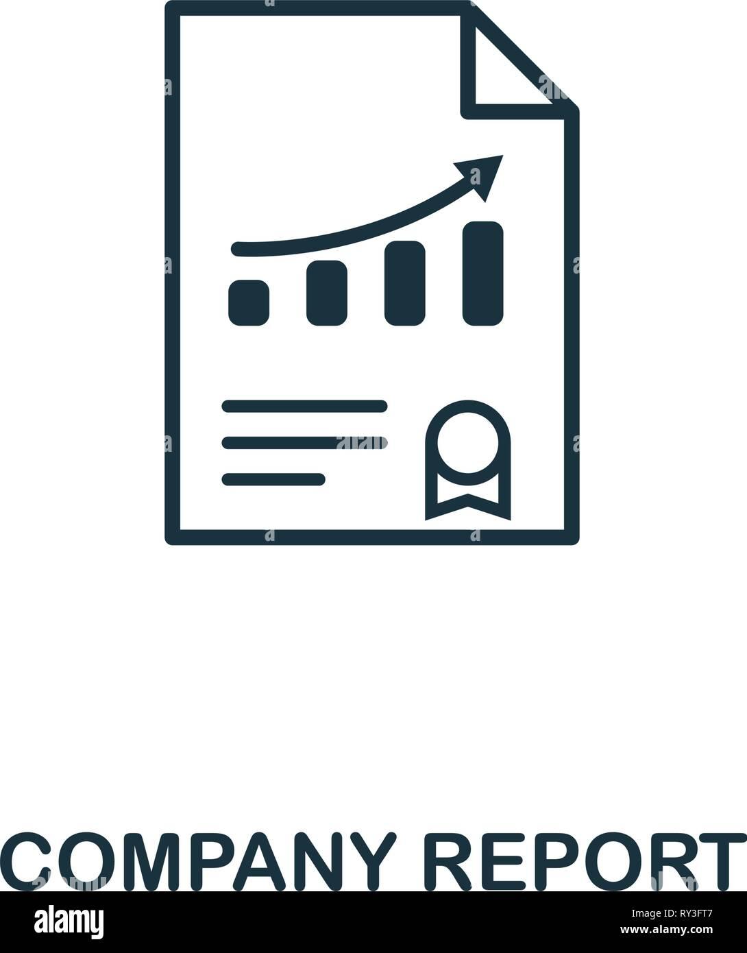 Icono de informe de la compañía. Diseño de elemento creativo de colección de iconos de gestión de riesgos. Pixel Perfect Empresa icono de informe para el diseño web, aplicaciones, software Imagen De Stock