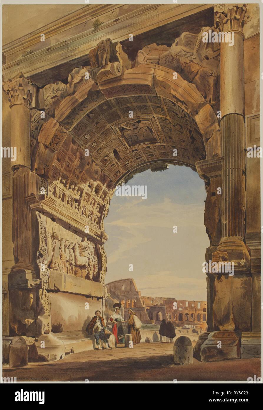 El Arco De Tito Y El Coliseo Roma 1846 Thomas Hartley Cromek
