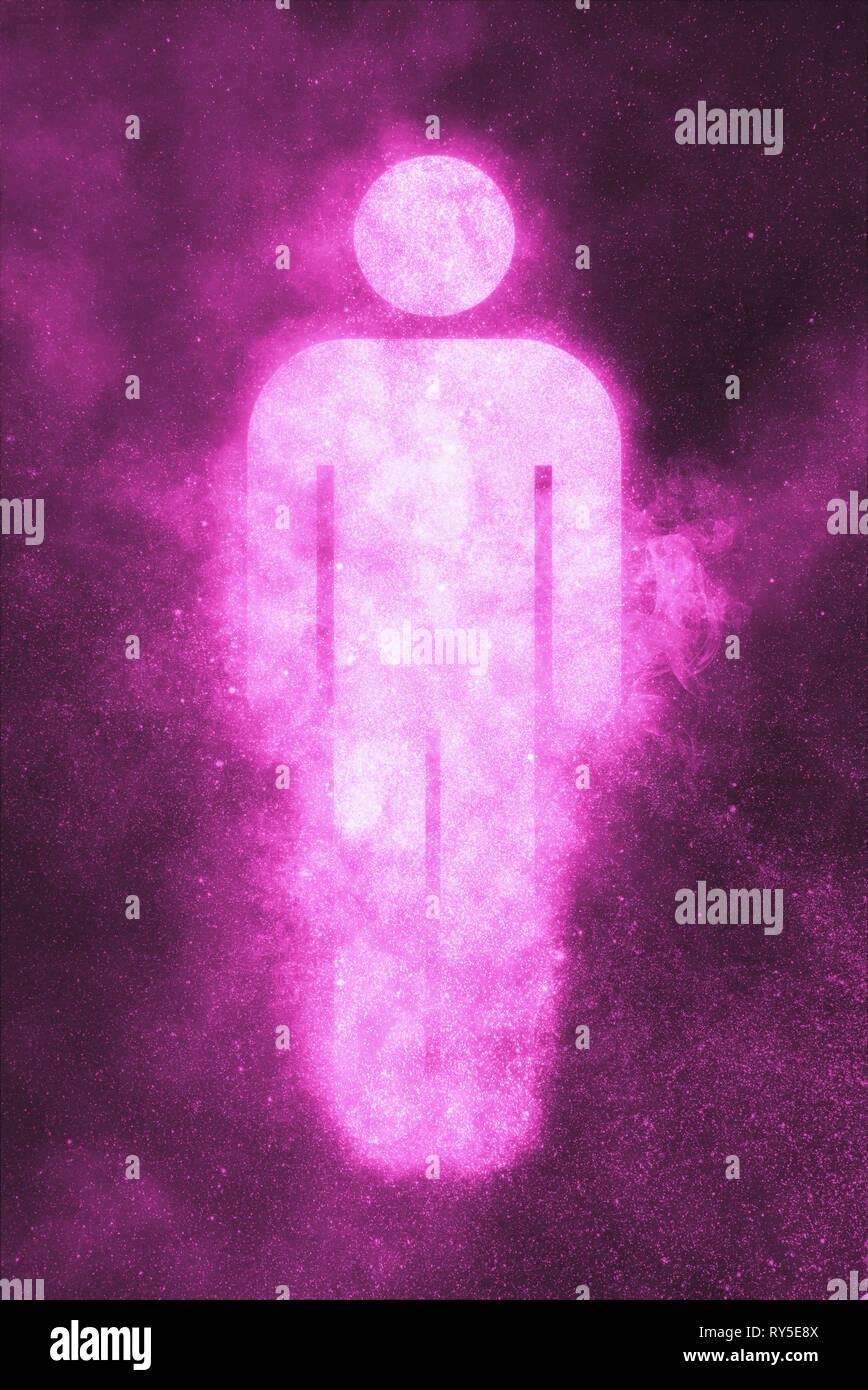 Signo del hombre. Símbolo masculino. Abstract fondo de cielo nocturno Imagen De Stock