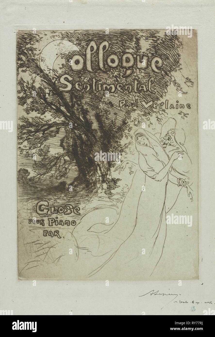 Coloquio sentimental de Paul Verlaine , 1897. Auguste Louis Lepère (Francés, 1849-1918). Aguafuerte y aguatinta; Hoja: 43 x 26 cm (16 15/16 x 10 1/4 pulg.); imagen: 29,9 x 21,7 cm (11 3/4 x 8 9/16 pulg. Foto de stock