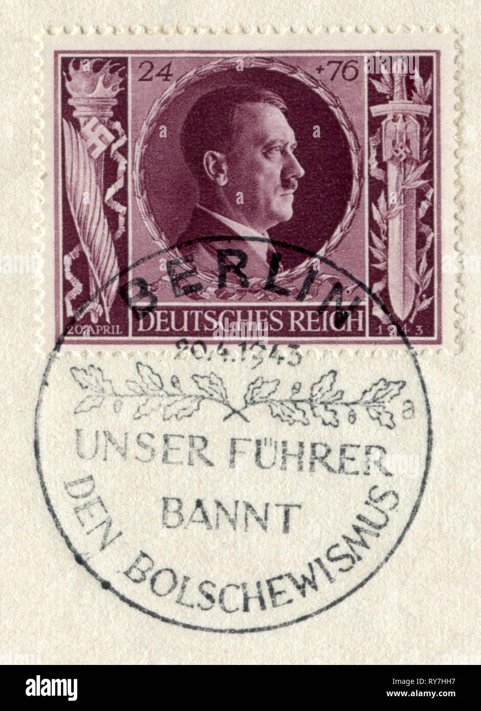 """Sello histórico alemán: """"54º aniversario de Adolf Hitler"""" con condiciones especiales de cancelación 'Nuestro Fuhrer prohíbe el bolchevismo"""" el 20 de abril de 1943, el DR, Tercer Reich, WW2 Imagen De Stock"""
