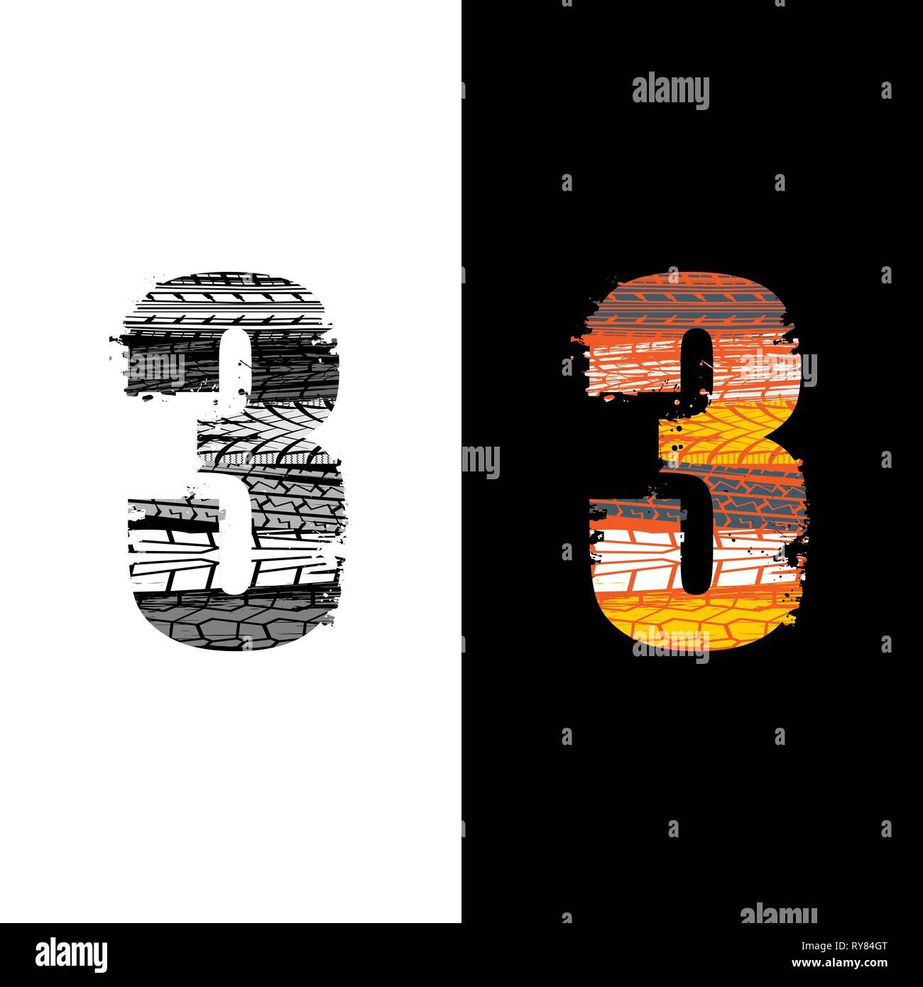 Dos grunge número 3 con las huellas de los neumáticos aislado sobre antecedentes differennt Imagen De Stock
