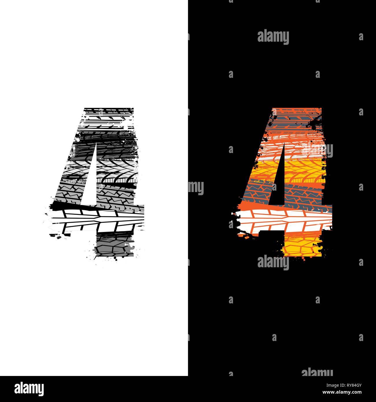 Dos grunge número 4 con las huellas de los neumáticos aislado sobre antecedentes differennt Imagen De Stock