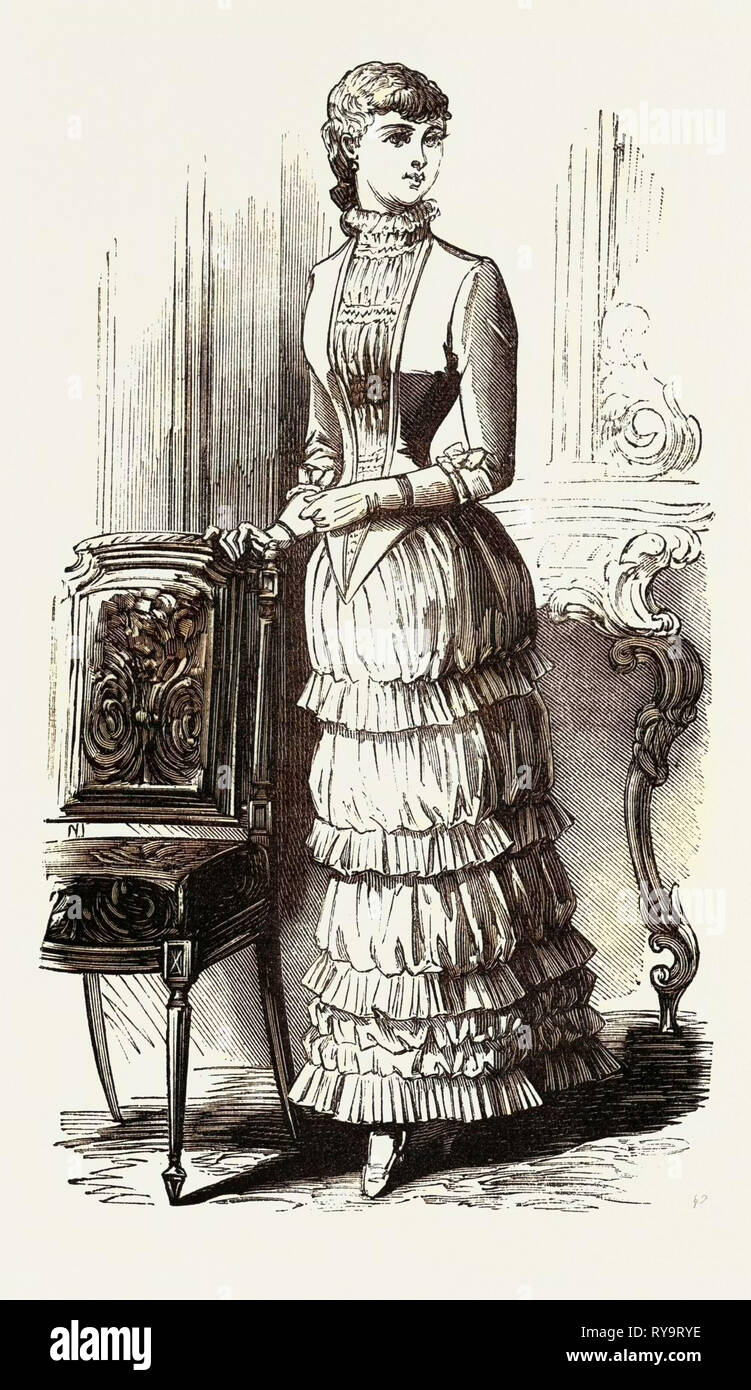 La cena vestido de niña de quince, Moda, grabado 1882 Imagen De Stock