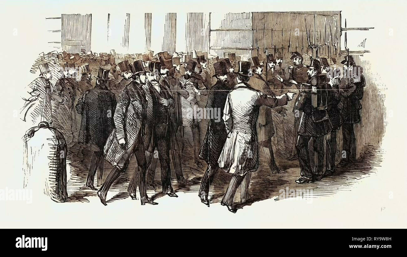 La revolución en Francia: Los miembros exigiendo la admisión a su Palacio Legislativo, 1851 Foto de stock