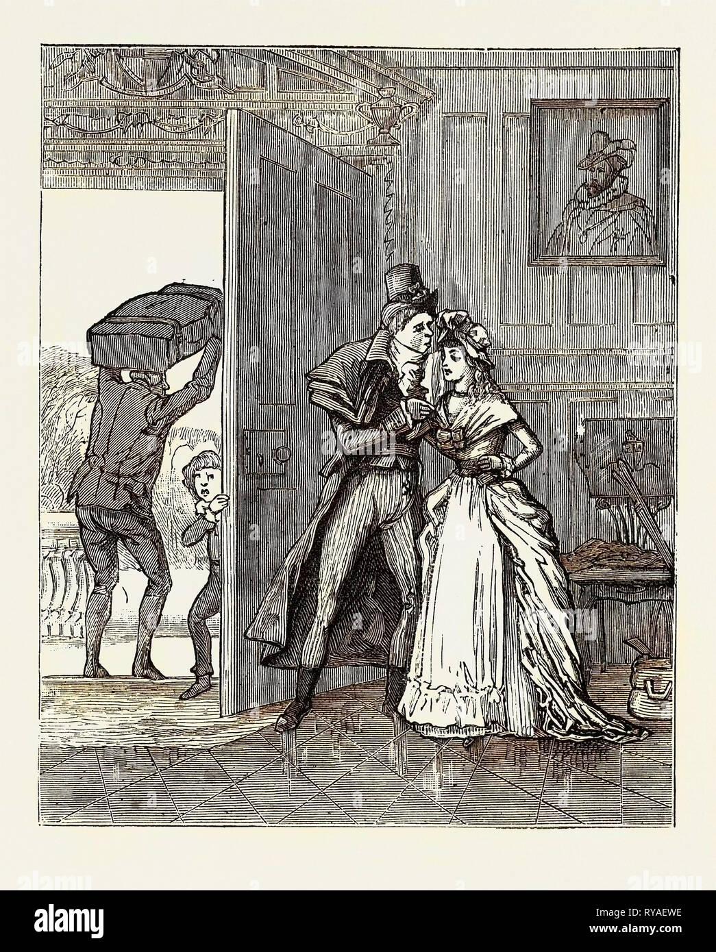 Cómo me uní al ciento-y-50º, reminiscencia del siglo XVIII: triste despedida con primo Louisa Imagen De Stock