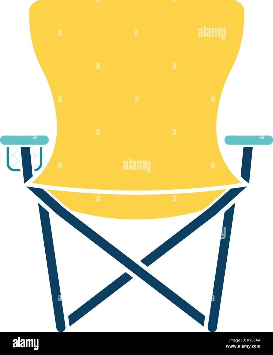 Icono de la pesca silla plegable. Diseño de color liso