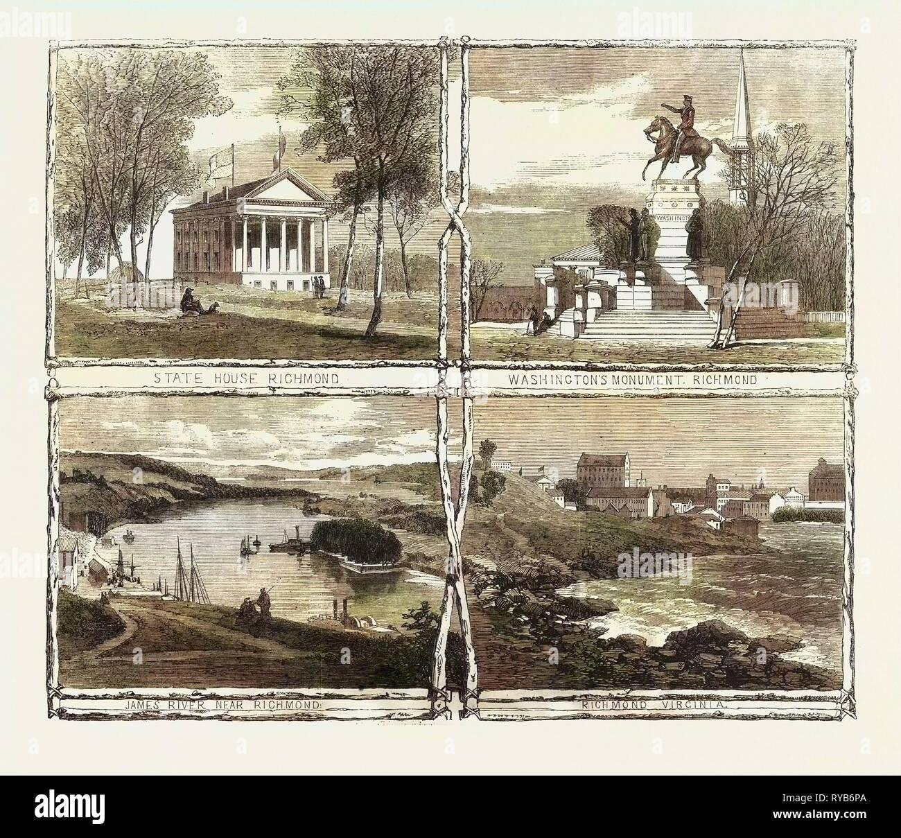 La guerra civil en Estados Unidos: Bocetos de Richmond, Virginia, la capital de los Estados Confederados de América, 1861 Foto de stock