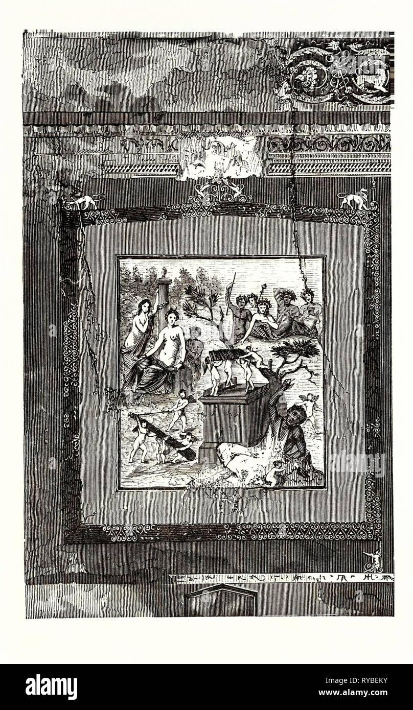 Fresco de la casa de Siricus en Pompeya: Hércules es superado por Baco a quien ha sido sacrificar. Cupids deporte alrededor de él y llevar fuera de su club, mientras que el héroe se encuentra en un estado de intoxicación impotente en el suelo Imagen De Stock