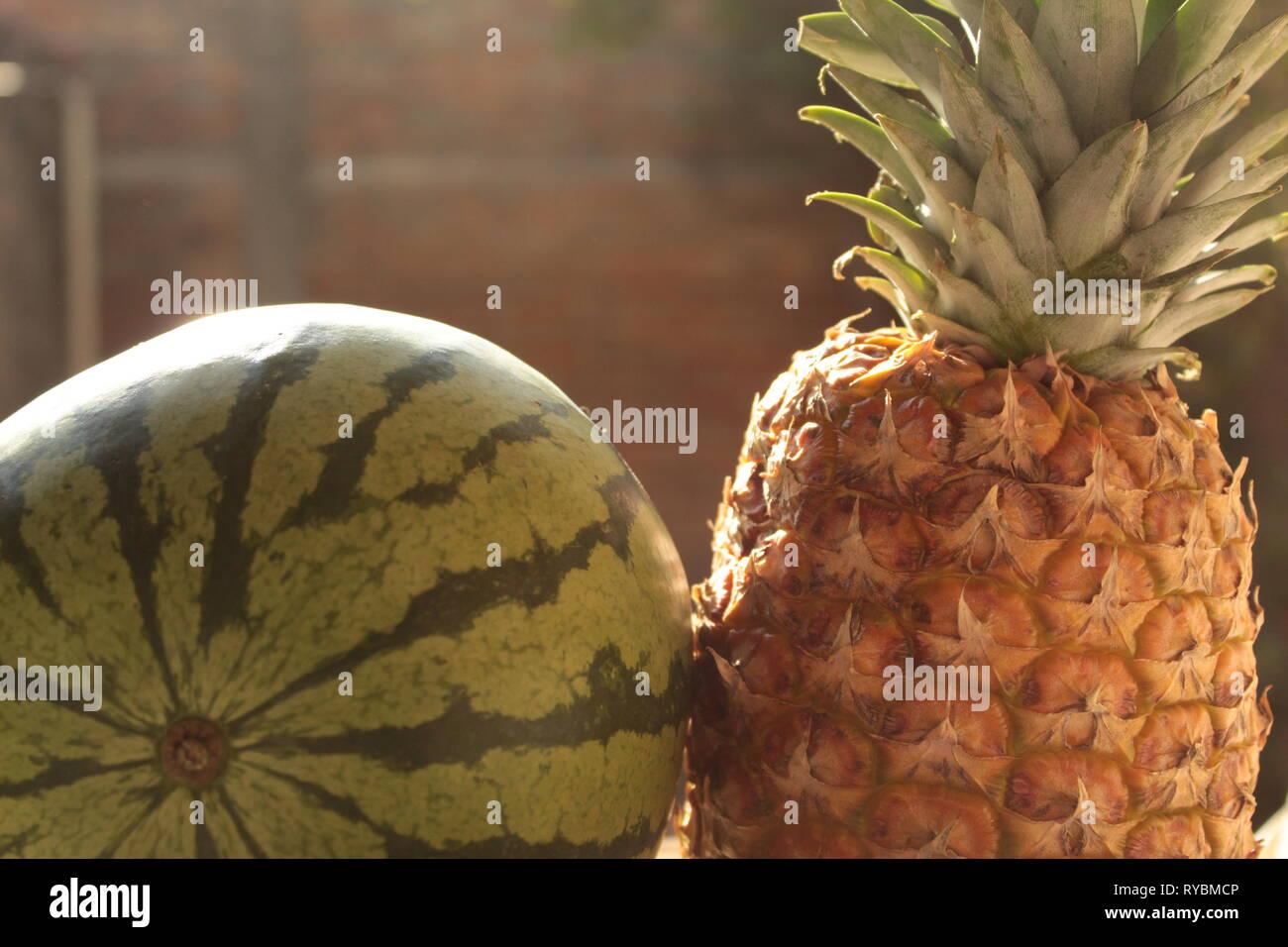 Close Up de bodegón de frutas tropicales como piña, melón y sandia foto tomada en mi jardín utilizando un lente de 18-55 mm marca canon Imagen De Stock