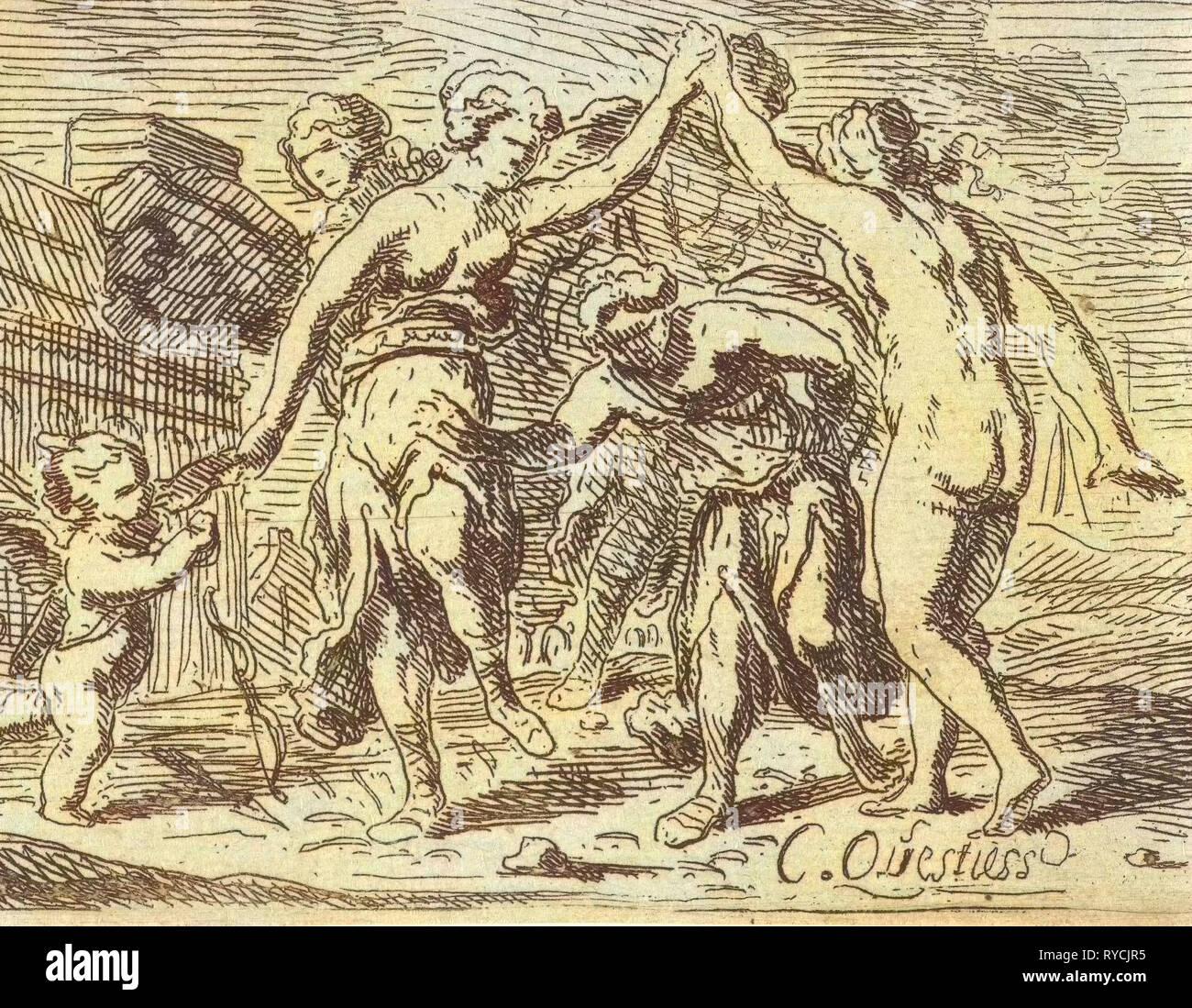 Bailando mujeres y Amor, Catharina Questiers, 1654 Imagen De Stock