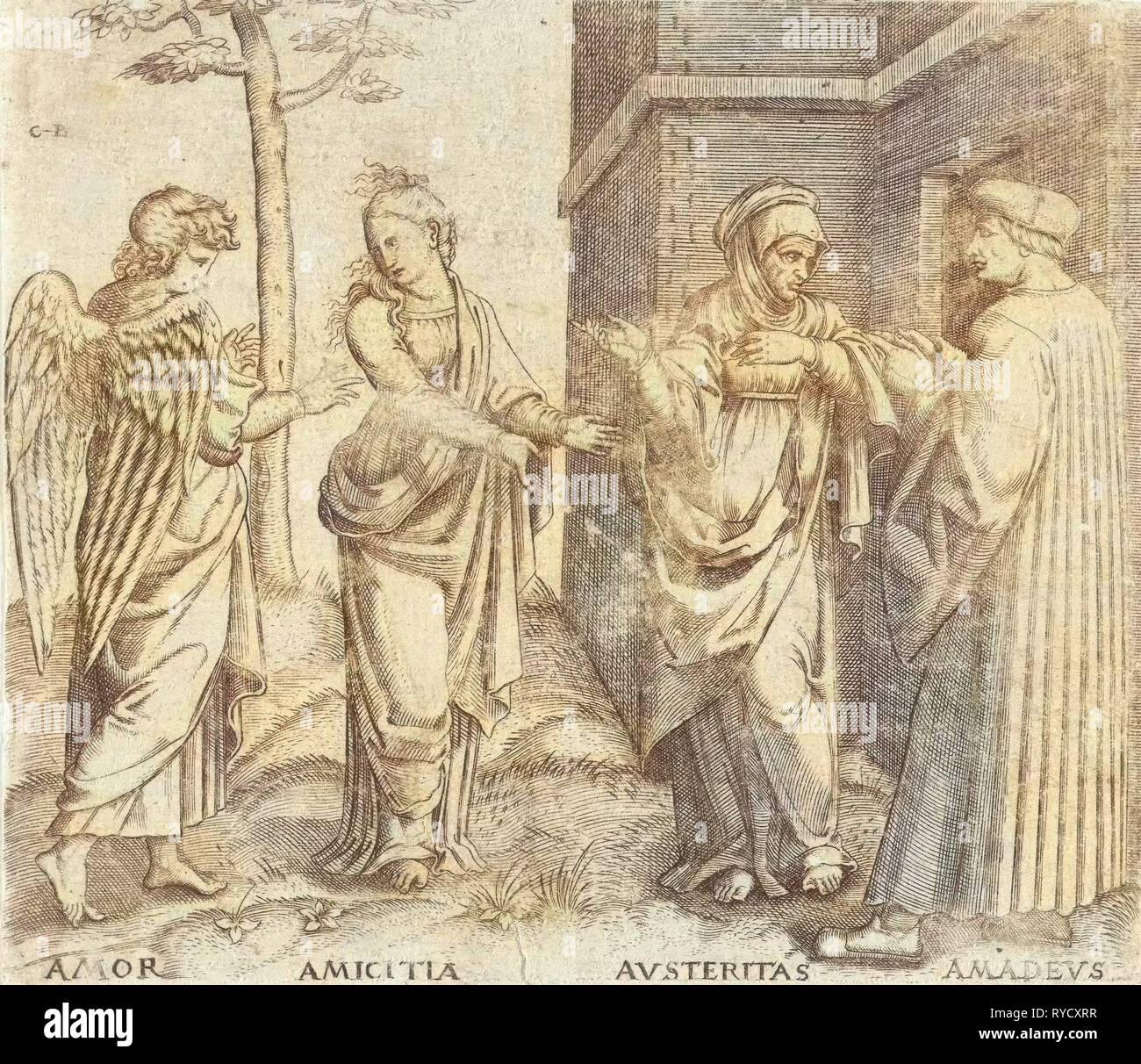 Amadeus Berutti con austeridad (Austeritas) y de amistad (Amicitia) y Love (Amor), Cornelis Bos, Marcantonio Raimondi, c. 1537 - c. 1555 Imagen De Stock