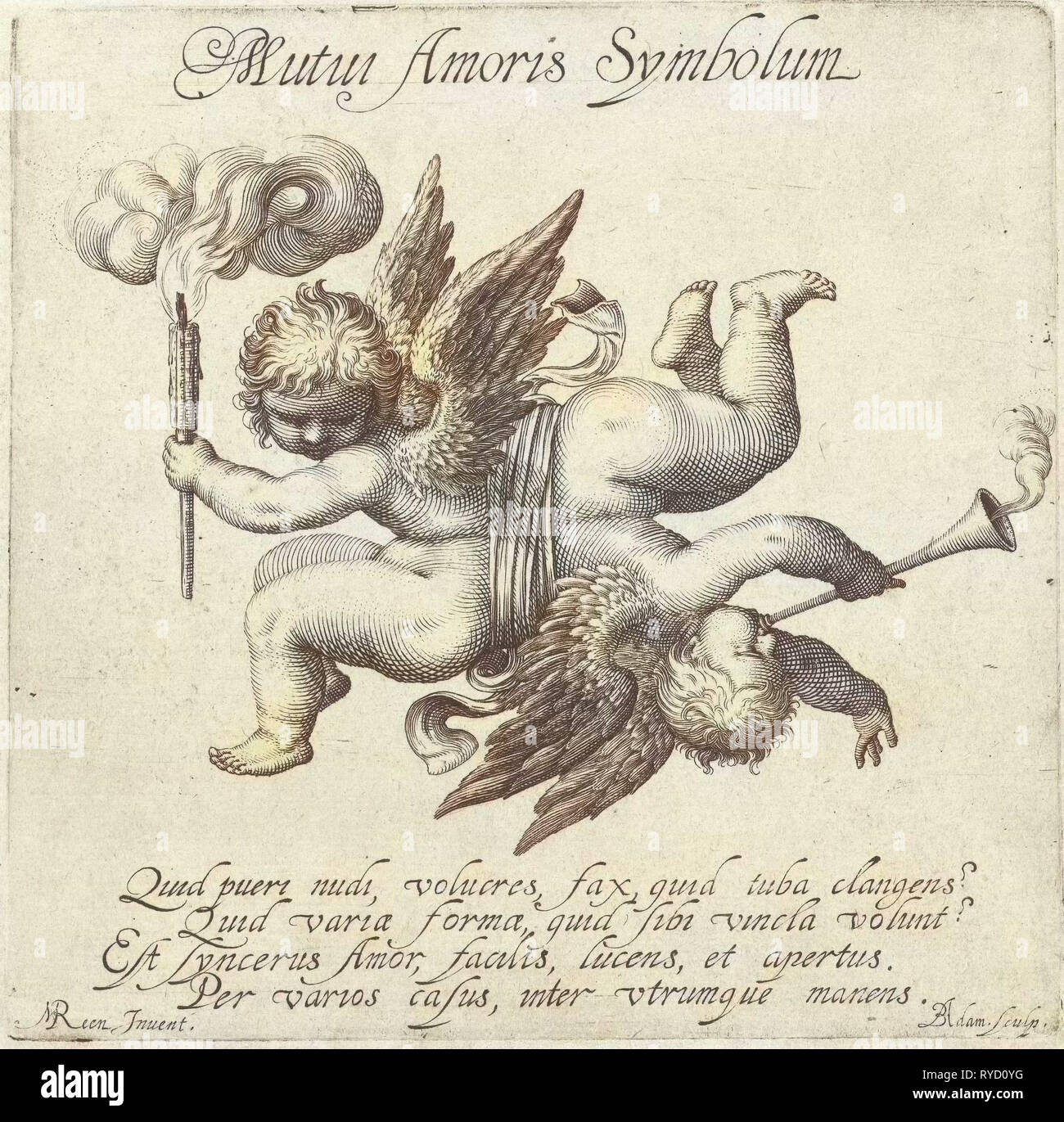 Dos veces Amor conectadas por una cinta con propia personalidad, impresión de folletos: Boëtius Adamsz. Reen Bolswert, M., 1590 - 1633 Imagen De Stock