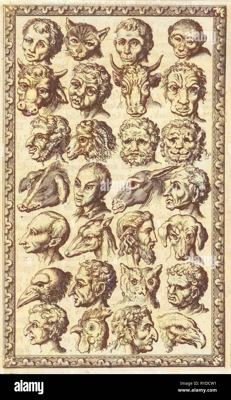 28 tazas de humanos y animales, Jan Luyken, Willem Goeree, 1682 Imagen De Stock