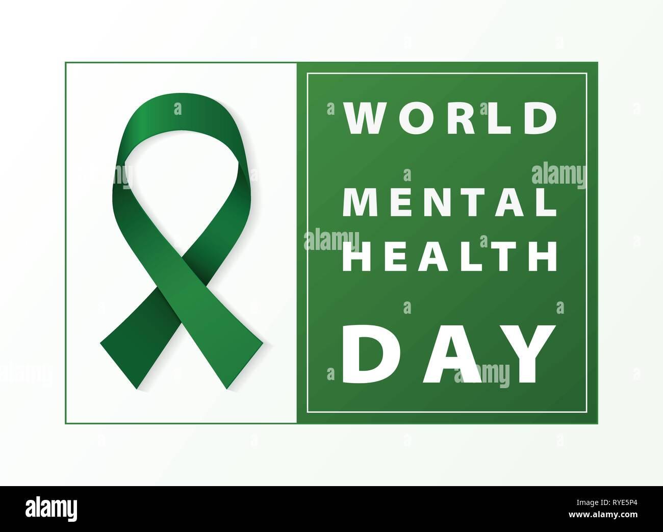 Día Mundial de la salud mental tarjeta de cinta verde de fondo. Puede utilizar para el día mundial de la salud el 7 de abril de 2004, ad, cartel, ilustración ilustración vectorial de la campaña. Imagen De Stock