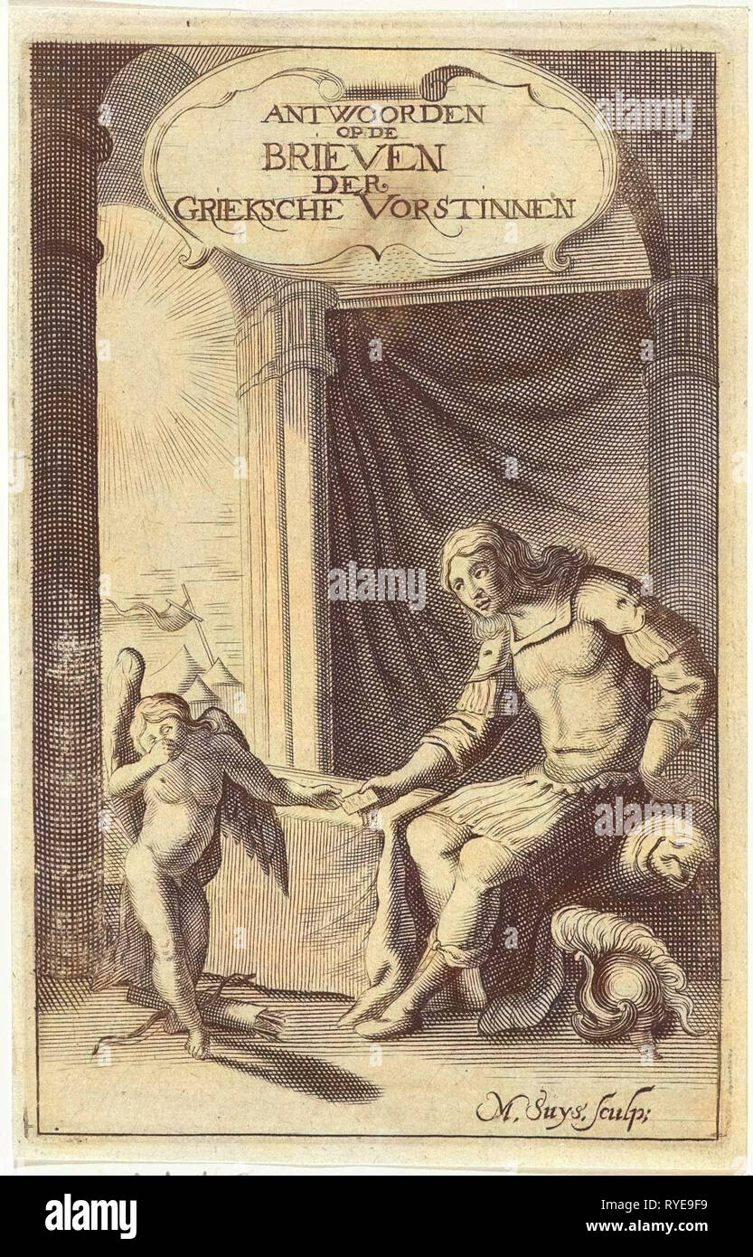 Guerrero griego recibe una carta de amor, impresión de folletos: M. Suys, Cornelis Dijvoort, Jan Tielmans, 1658 Imagen De Stock