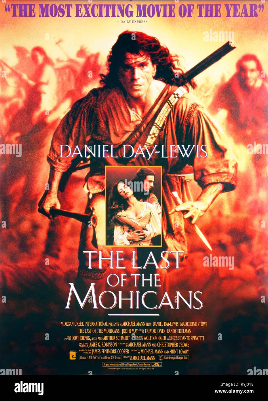 MADELEINE STOWE, Daniel Day Lewis de póster, el último de los mohicanos, 1992 Foto de stock