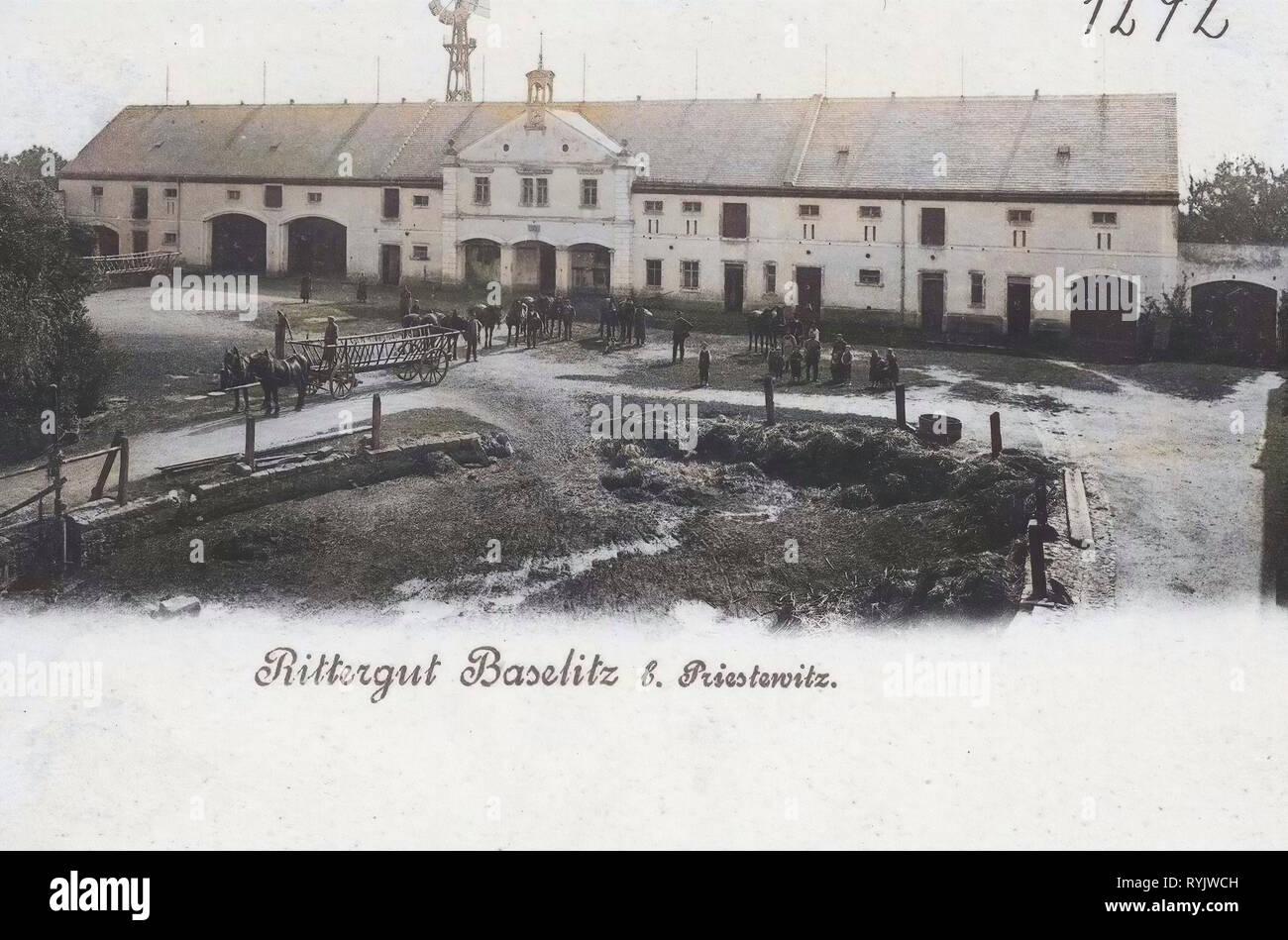 En Sajonia, Leiterwagen Rittergüter, turbinas eólicas en Sajonia, Baselitz (Priestewitz) 1899, Landkreis Meißen, Baselitz, Rittergut, Alemania Foto de stock