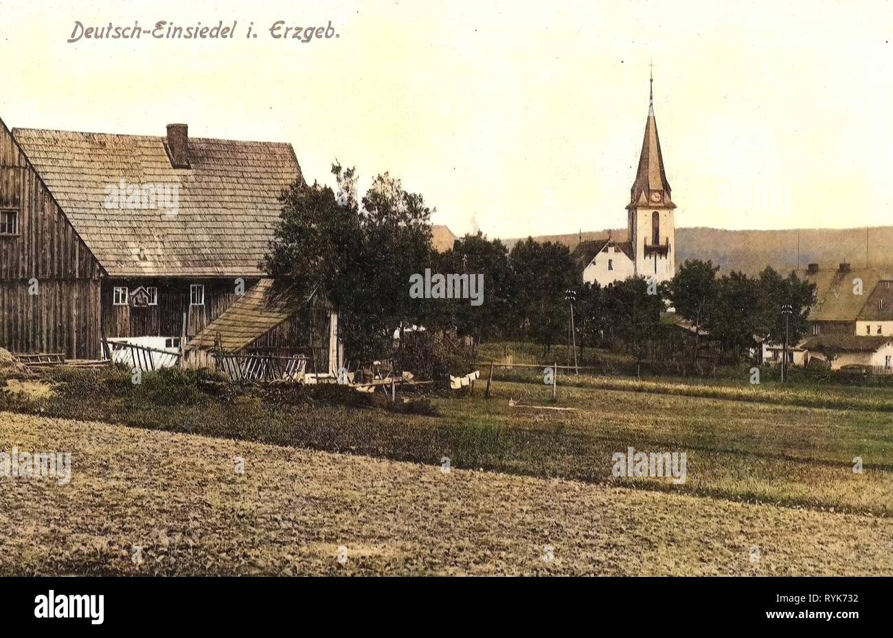 Edificios en Deutscheinsiedel Erzgebirgskreis, 1919, Erzgebirgskreis, Deutsch, Einsiedel, Alemania Foto de stock