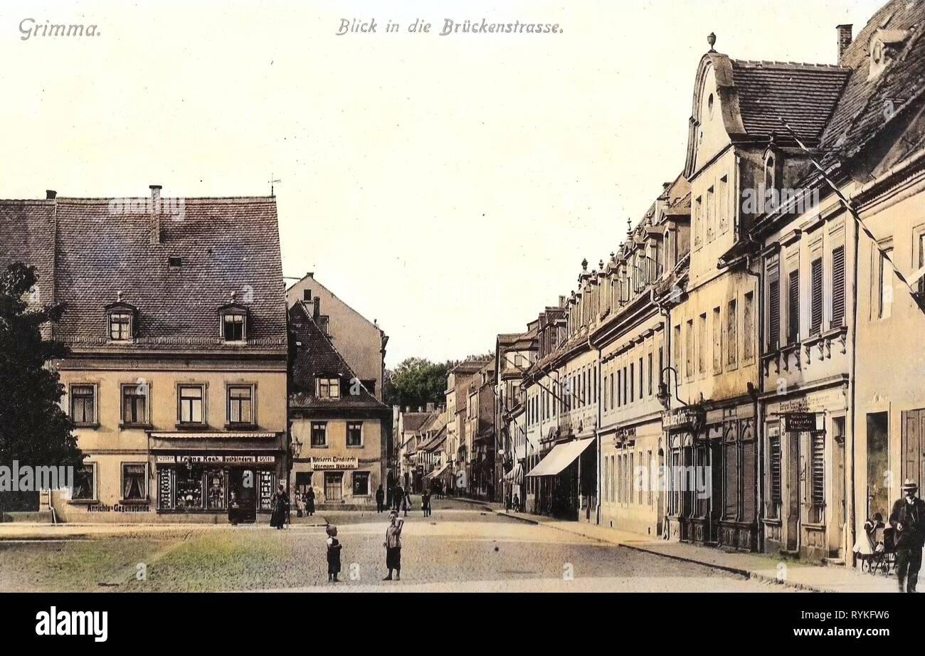 Edificios en Grimma, Markt (Grimma) de 1915, Landkreis Leipzig, Grimma, Blick in die Brückenstraße, Alemania Foto de stock