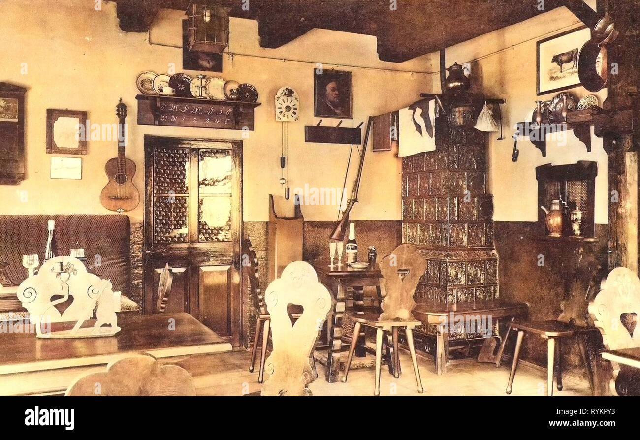 Sillas en Alemania, las estufas de azulejos en Alemania, comedores en Alemania 1913, Meißen, Bauernhäusl Bauernstube original Foto de stock