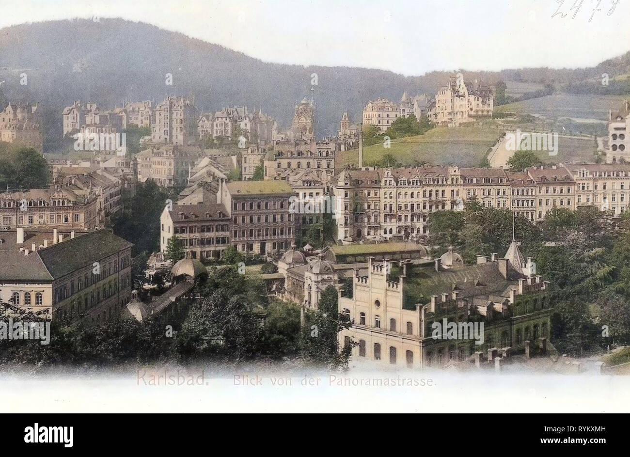 Edificios en Karlovy Vary 1902, Región de Karlovy Vary, iglesia ortodoxa de los Santos Pedro y Pablo en Karlovy Vary, Sadová kolonáda, Karlsbad, Blick von der Panoramastraße, República Checa Foto de stock