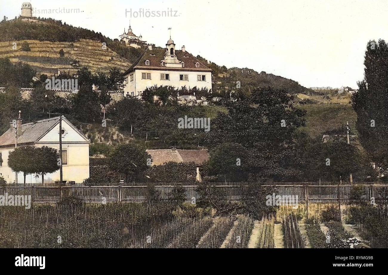 Hoflößnitz, Spitzhaus, Bismarckturm (Radebeul), 1907, Landkreis Meißen, Holzhof (Hoflößnitz), Radebeul, Bismarckturm, Alemania Foto de stock