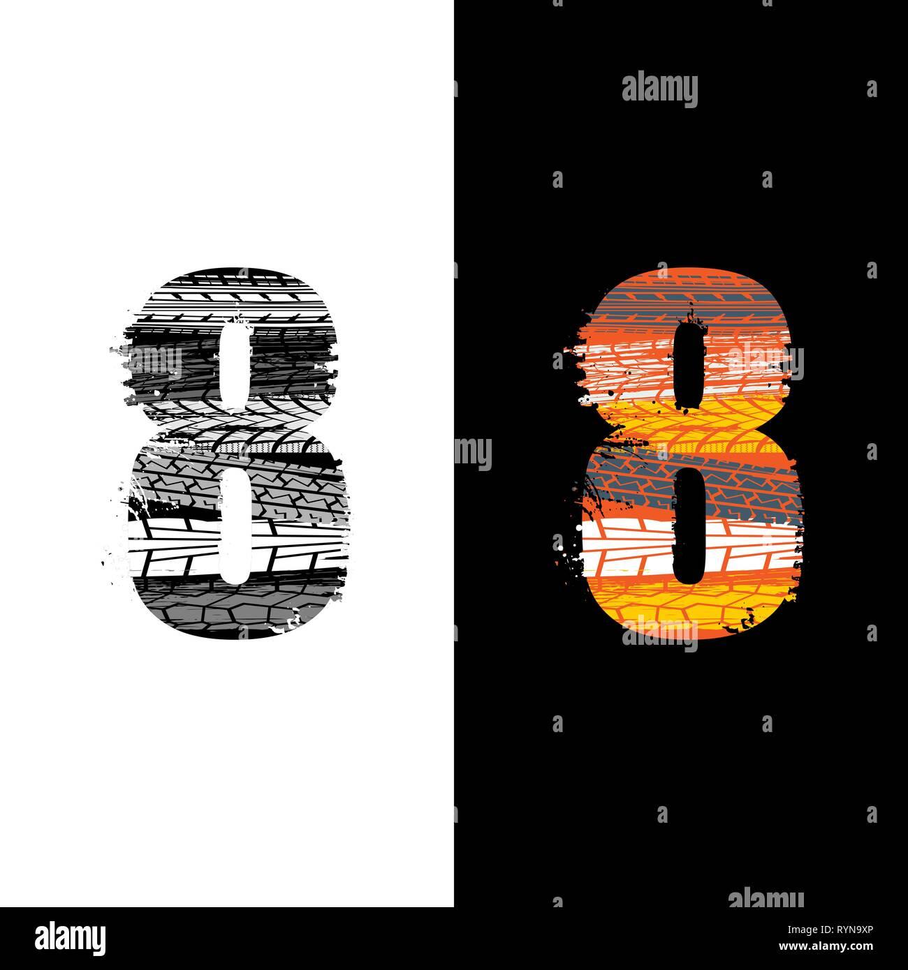 Dos grunge número 8 con las huellas de los neumáticos aislado sobre antecedentes differennt Imagen De Stock