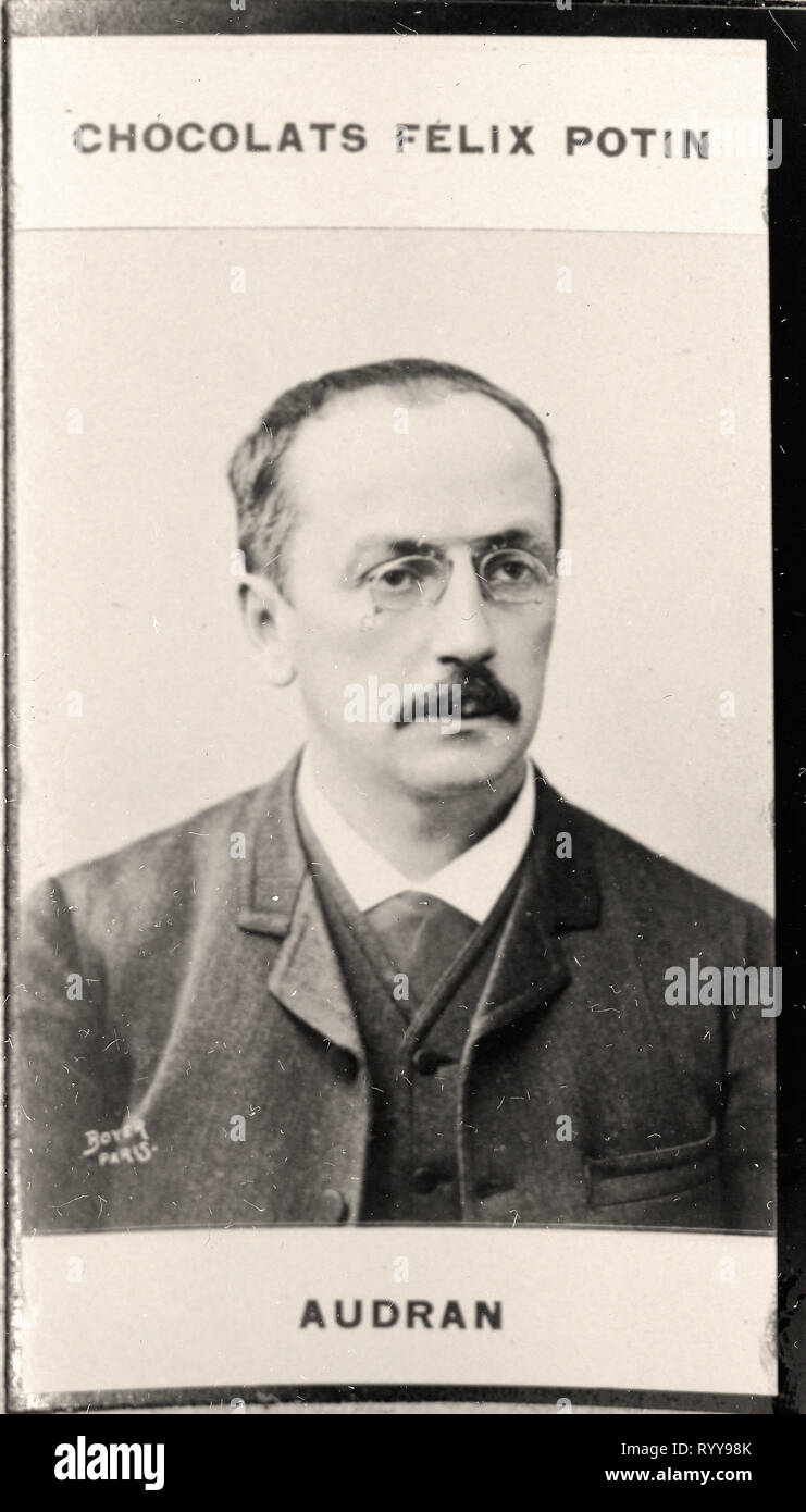 Retrato fotográfico de Audran de colección Félix Potin, de principios del siglo XX. Foto de stock