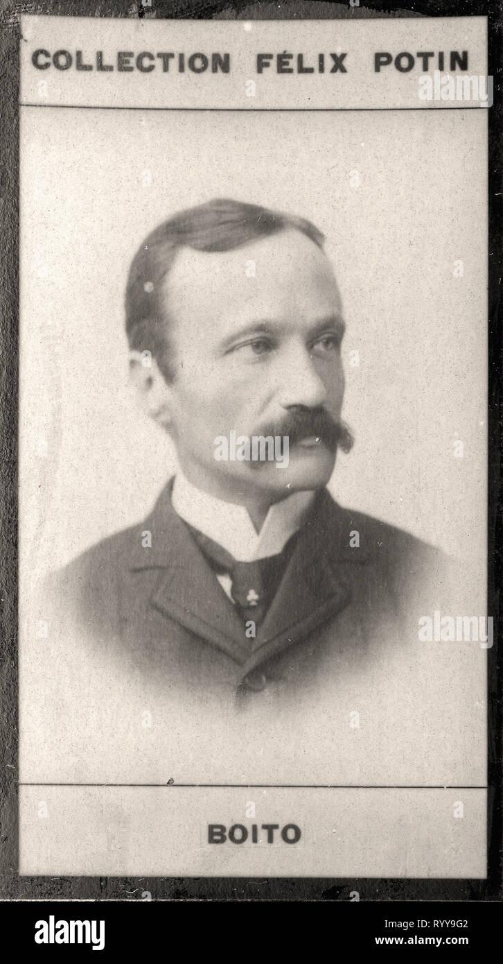 Retrato fotográfico de Boito de colección Félix Potin, de principios del siglo XX. Foto de stock