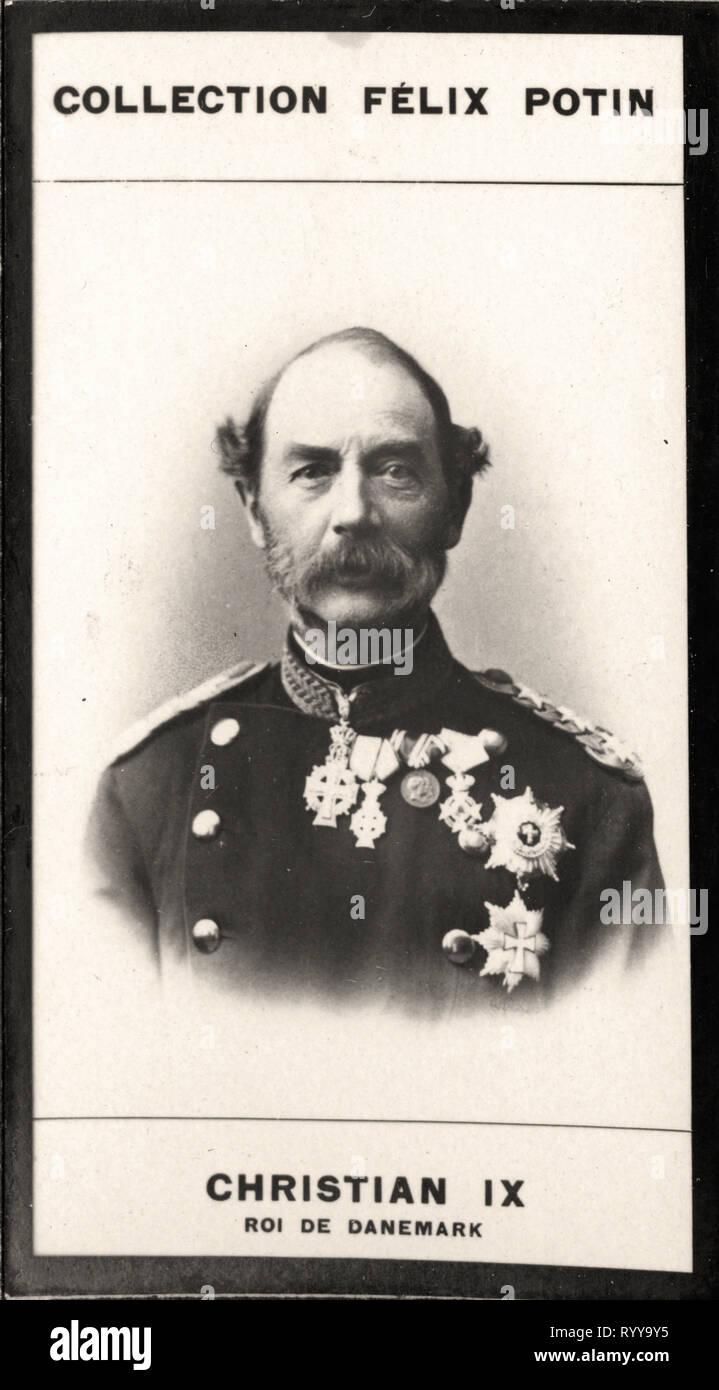 Retrato fotográfico de Christian IX Roi De Danemark Colección de Félix Potin, de principios del siglo XX. Foto de stock
