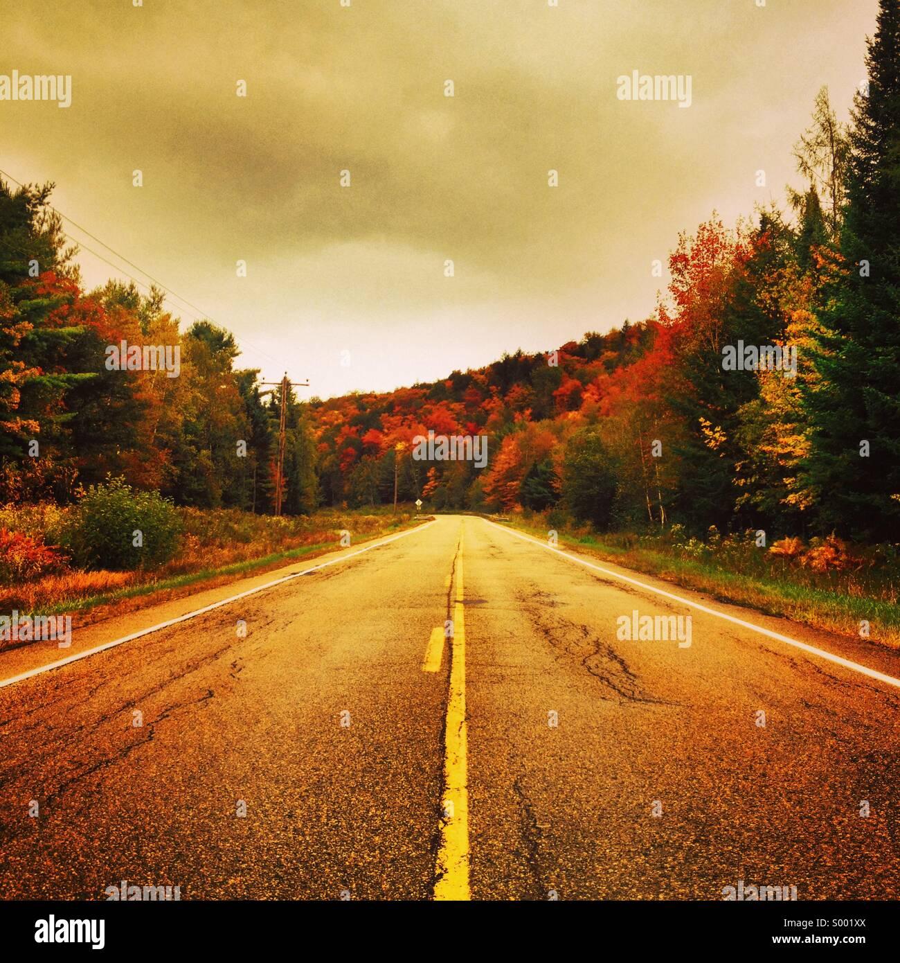 Carretera solitaria, Maine, EE.UU. Foto de stock