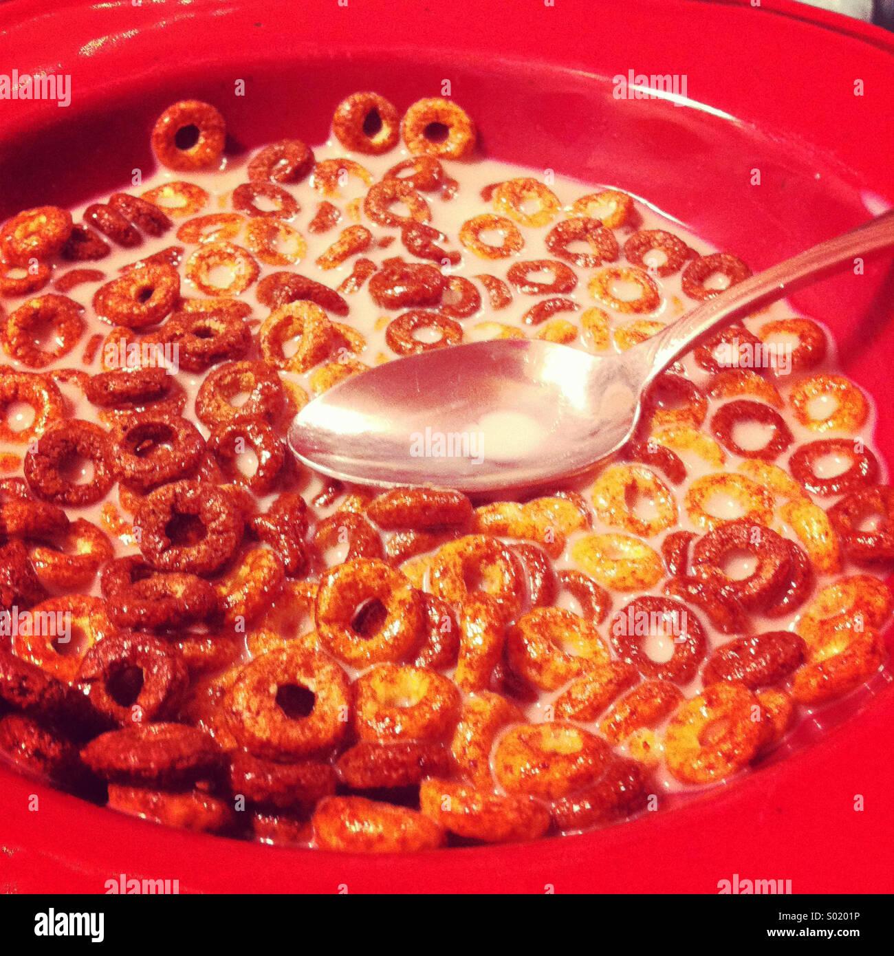 Un tazón de leche y Cerwal rojo en un recipiente con una cuchara Imagen De Stock