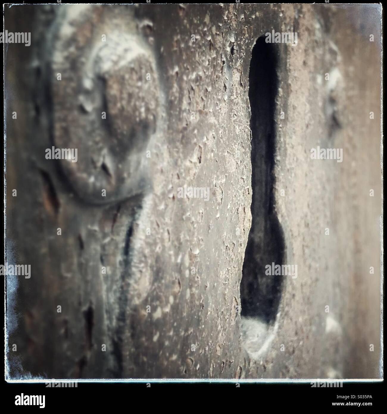 Agujero clave antigua puerta vintage Foto de stock