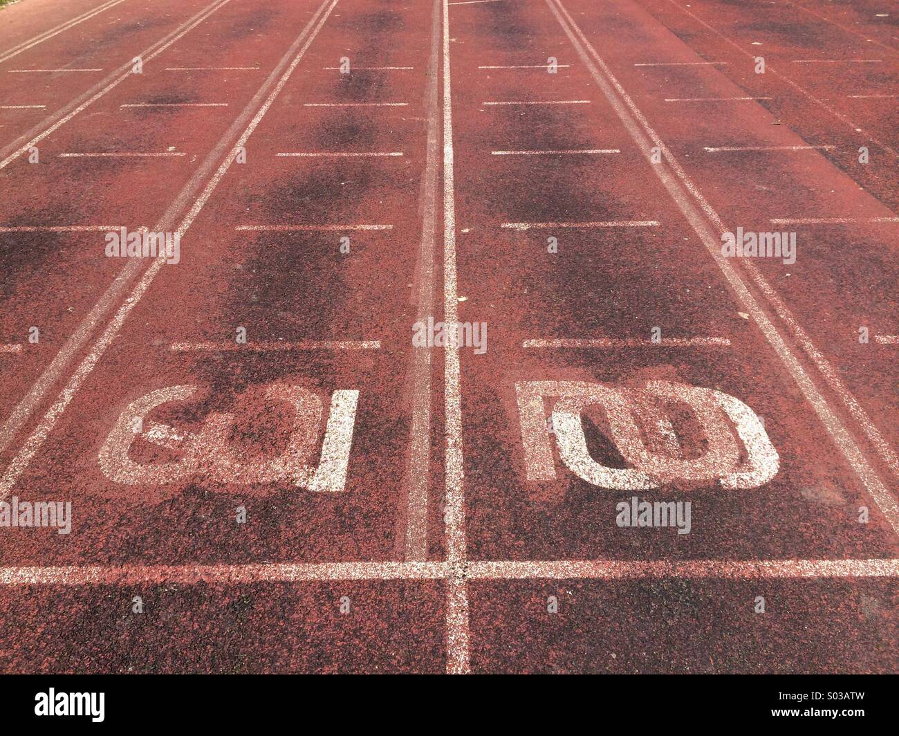 Una pista de atletismo Imagen De Stock